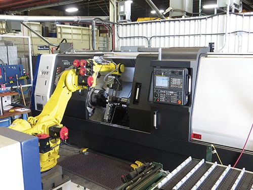Fanuc r2000ib/165f six-axis robot Implemented at the request of a customer, the third cell is similar to the first in that it is dedicated to a specific part. It consists of a Fanuc r2000ib/165f six-axis robot and two lathes: a Hyundai WIA L300LMC and a Hyundai WIA L400LMC.